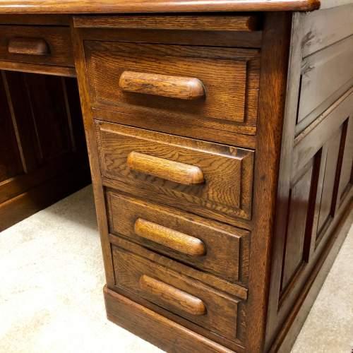 1920s Golden Oak Pedestal Desk image-4