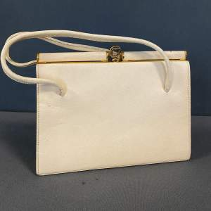 Vintage Ivory Leather Handbag