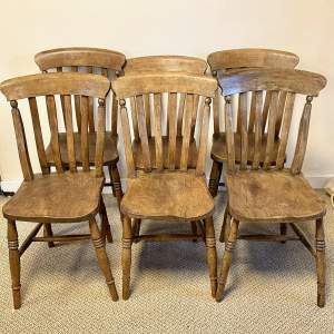 Set of Six Victorian Ash and Elm Slatback Windsor Dining Chairs