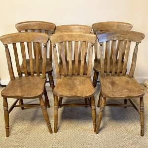Set of Six Victorian Ash and Elm Slatback Windsor Dining Chairs