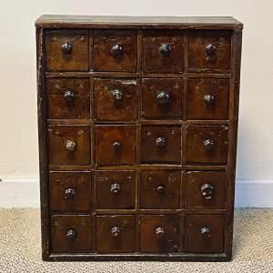 Victorian Rustic Pine Bank of Twenty Drawers