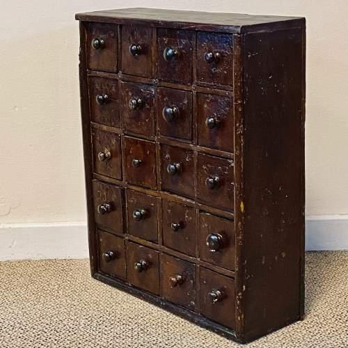 Victorian Rustic Pine Bank of Twenty Drawers image-2