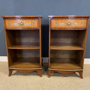 Pair of Satinwood and Mahogany Bedside Tables