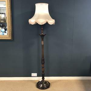 Vintage Carved Mahogany Standard Lamp