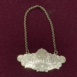 Victorian Silver Sherry Wine Label
