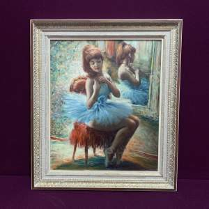 Large Oil Painting of The Seated Ballerina