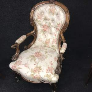 19th Century Beautiful Carved Walnut Buttoned Back Arm Chair