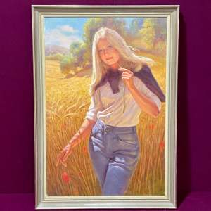 Oil Painting of a Girl Standing in a Field of Corn
