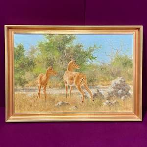 20th Century South Paul Rose Oil On Canvas of Two Gazelles