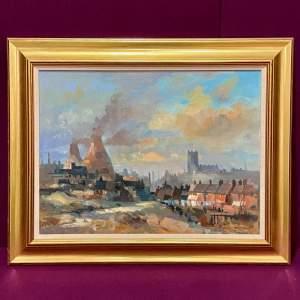 Oil on Board Painting of Longton Circa 1959