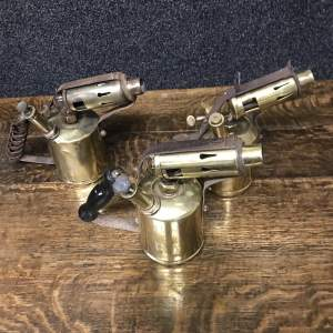 Collection of Three Brass Blow Lamps