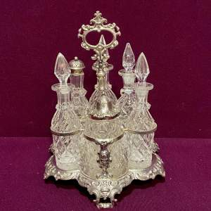 Victorian Silver Mounted Cut Glass Condiment Set