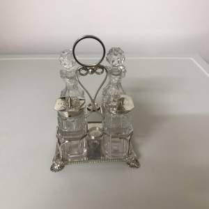 Victorian Silver and Cut Glass 4 Piece Cruet  Sheffield 1896
