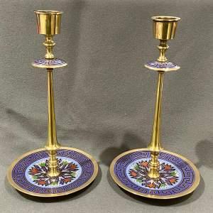 Pair of Champleve Enamel Candlesticks