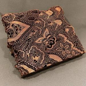 Copper Printing Block with Foliage and Butterfly Design