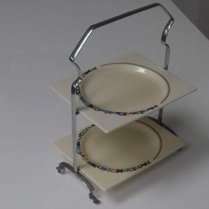 Clarice Cliff Biarritz Two Tier Cake Stand