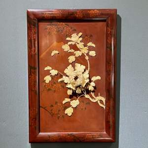 19th Century Japanese Floral Lacquer and Bone Wall Panel