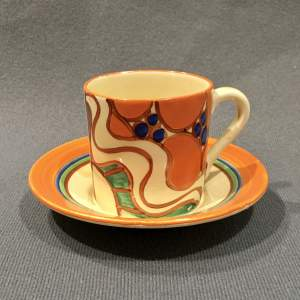 Clarice Cliff Sunrise Coffee Can and Saucer