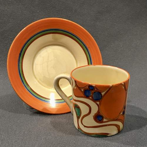 Clarice Cliff Sunrise Coffee Can and Saucer image-3