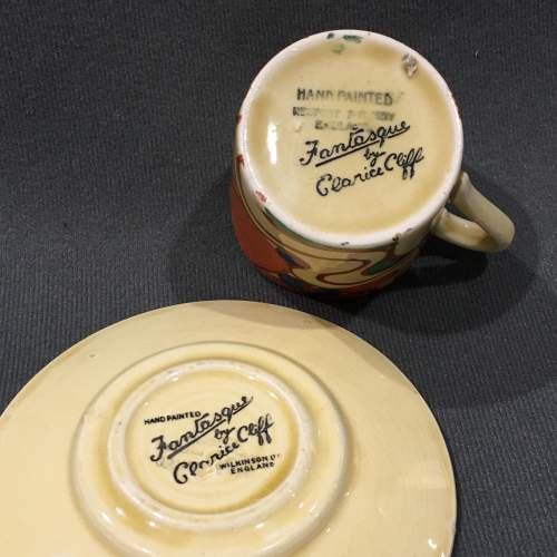 Clarice Cliff Sunrise Coffee Can and Saucer image-4