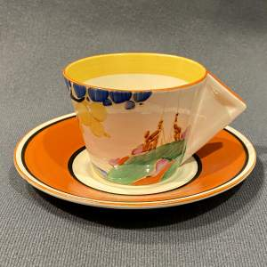 Clarice Cliff Seven Colour Secrets Conical Coffee Cup and Saucer