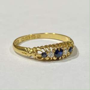 18ct Gold Diamond and Sapphire Ring