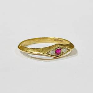 Vintage 9ct Gold Diamond And Ruby Ring