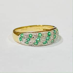 Vintage 9ct Gold Emerald And Diamond Ring