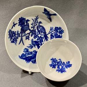 Late 18th Century Blue and White Tea Bowl and Saucer