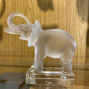 Lalique Elephant Glass Paperweight with Original Label