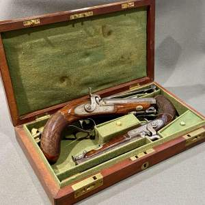 Fine Mid 19th Century Boxed Pair of Percussion Pistols