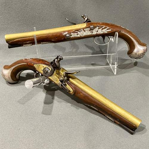 Fantastic Pair of 18th Century Silver Mounted Wilson Flintlock Pistols image-1
