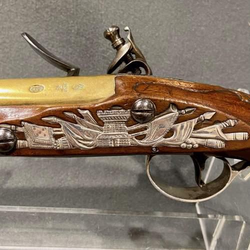 Fantastic Pair of 18th Century Silver Mounted Wilson Flintlock Pistols image-3