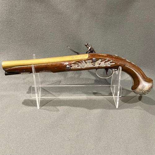 Fantastic Pair of 18th Century Silver Mounted Wilson Flintlock Pistols image-2