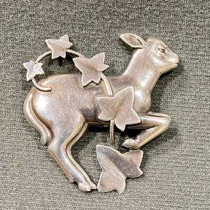 Georg Jensen Silver Lamb and Ivy Brooch