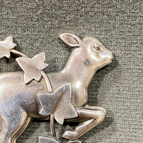Georg Jensen Silver Lamb and Ivy Brooch image-2