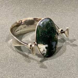 Georg Jensen Silver and Moss Agate Bangle