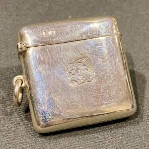 Edwardian Silver Vesta Case Engraved with a Bulldog