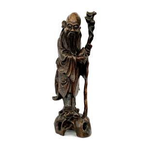 Chinese Hardwood Figure With Silver Wire Inlay