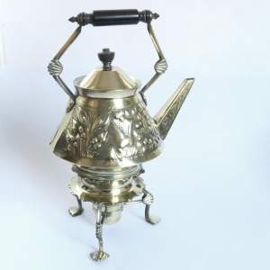 Arts and Crafts Aesthetic Movement Brass Spirit Kettle with Burner