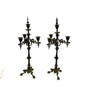 Pair of French Bronze Candelabra 19th Century