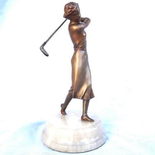 Tall 1930s Art Deco Cold Painted Spelter Lady Golfer on Onyx Base image-2