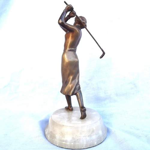 Tall 1930s Art Deco Cold Painted Spelter Lady Golfer on Onyx Base image-3