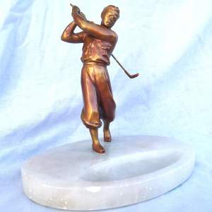 Tall 1930s Art Deco Gilt Spelter Male Golfer on Alabaster Dish