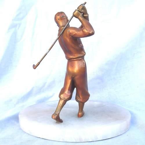 Tall 1930s Art Deco Gilt Spelter Male Golfer on Alabaster Dish image-2