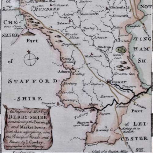 18th Century Map of Derbyshire I Cowley 1745 image-2