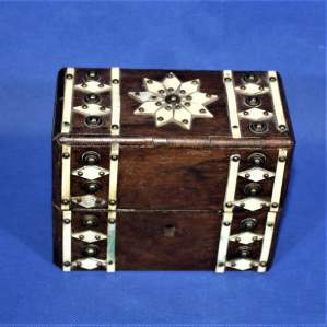 A Fine 19th Century Bone Decorated Walnut Scent Bottle Box