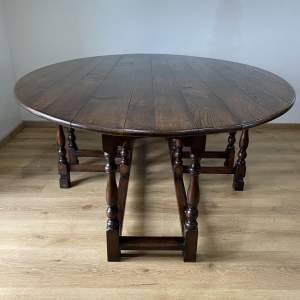 Victorian Large Irish Oak Wake Table - Large Drop Leaf Table