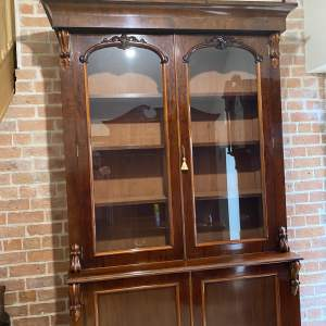 19th Century Tall Mahogany Glass Fronted Bookcase Over Double Cupboard