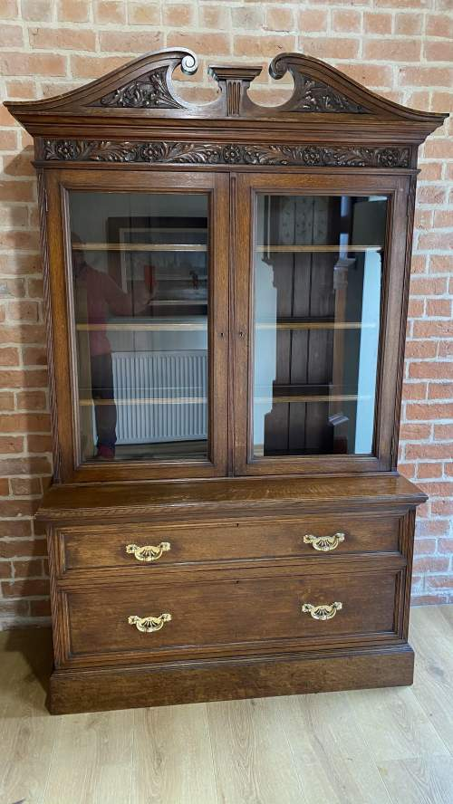 Victorian Oak Bookcase over Deep Drawers - Circa 1860 image-5